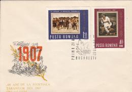 47738- ROMANIAN 1907 PEASANT UPRISING ANNIVERSARY, COVER FDC, 1967, ROMANIA - FDC