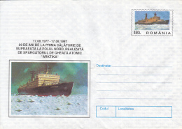 47864- ARKTIKA NUCLEAR ICEBREAKER, POLAR SHIP, COVER STATIONERY, 1997, ROMANIA - Navires & Brise-glace