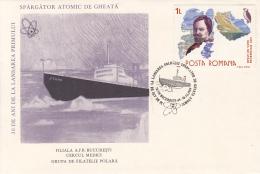 47865- LENIN NUCLEAR ICEBREAKER, POLAR SHIP, SPECIAL COVER, 1989, ROMANIA - Navires & Brise-glace