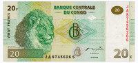 CONGO DEMOCRATIC REPUBLIC 20 FRANCS 2003 Pick 94A Unc - Congo
