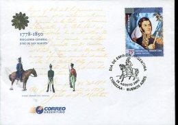 SOBRE PRIMER DIA OFICIAL FDC BRIGADIER GENERAL JOSE DE SAN MARTIN 1778-1850 ZTU. - FDC