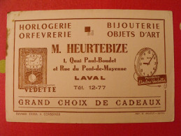 Buvard Heurteubize Horlogerie Orfevrerie Bijouterie Laval Mayenne Réveil Pendule Carillon. Vers 1950 - H