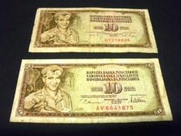 YOUGOSLAVIE 2 X 10 Dinara 1968 Et 1978, Pick N° 82 A Et 87 A, YUGOSLAVIA - Jugoslawien