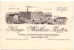 0-4900 ZEITZ, Firmen-Karte Hugo Müller, Kinderwagen, Puppenwagen....1916, Kl. Einriss, Aktenhefung - Zeitz