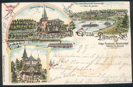 Postkarte Gruss Vom Dämeritz-See Bei Erkner, Litho, 1898, Gelaufen - Erkner
