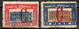 PARAGUAY - 1922 - SEDE DEL PARLAMENTO CON SOVRASTAMPA ROSSA - OVERPRINTED - USATI - Paraguay