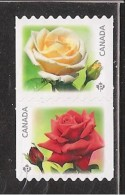 CANADA, 2014, #2729ii,  ROSES,  DIE CUT From QUATERLY PACK   MNH, Pair - Roulettes
