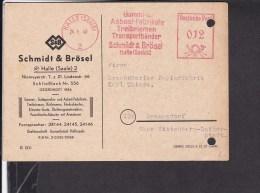 Freistempel  Halle  Schmidt & Brösel Treibriemen ,transportbänder 1948 - Marcofilie - EMA (Printmachine)