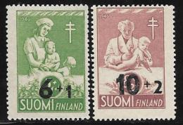 Finland, Scott # B80-1 Mint Hinged Tuberculosis Prevention, Surcharged, 1947 - Finland