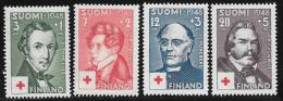 Finland, Scott # B87-90 Mint Hinged Red Cross, Famous Men, 1948 - Finland