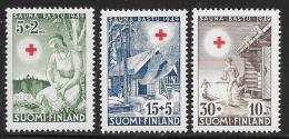 Finland, Scott # B94,96-7 Mint Hinged Sauna Scenes, Red Cross, 1949 - Finland