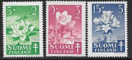 Finland, Scott # B101-3 Mint Hinged Tuberculosis Prevention, Flowers, 1950 - Finland