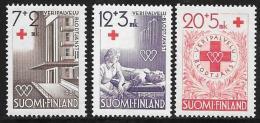 Finland, Scott # B104-6 Mint Hinged Blood Donation, Red Cross, 1951 - Finland