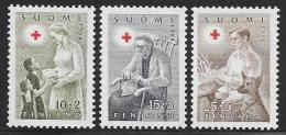 Finland, Scott # B123-5 Mint Hinged Red Cross Work, 1954 - Finland