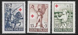 Finland, Scott # B132-4 MNH Edelfelter Illustrations, 1955 - Finland