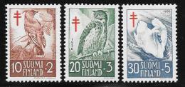 Finland, Scott # B135-7 Mint Hinged Birds, 1956 - Finland