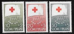 Finland, Scott # B145-7 Mint Hinged Red Cross Flag, 1957 - Finland