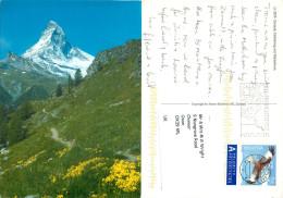 Matterhorn, Zermatt, VS Valais, Switzerland Postcard Posted 2010 Stamp - VS Valais