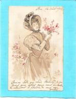 CPA DOS SIMPLE  FANTAISIE -  Belle Jeune Femme Aux Fleurs - Bergeret? - ENCH0616 - - Frauen