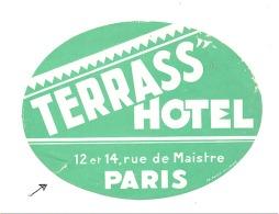 Etiquette Gommée Pour Valise, Bagage,... Terrass' Hôtel à PARIS (sf110) - Advertising