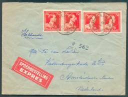 N°846(4) Obl. Sc RENAIX RONSE Centre Textile Sur Enveloppe EXPRES Du 26-6-1956 Vers Amsterdam - 11359 - 1936-1957 Offener Kragen