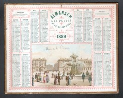 CALENDRIER GRAND FORMAT, OBERTHUR A RENNES, 1889, ILLUSTRATION: LA PLACE DE LA CON?CORDE, SCANS RECTO ET VERSO - Calendars