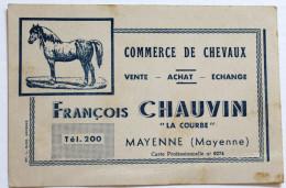 Carte De Visite Commerce De Chevaux François CHAUVIN La Courbe Mayenne 53 - Visitekaartjes