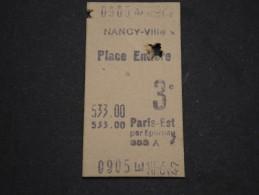 FRANCE - Ticket De Train?  Paris Est Par Epernay   3 ème Classe , 1947  - A Voir - L 1623 - Europa