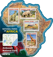 SIERRA LEONE 2016 ** Girafe Giraffe Amboseli National Park Kenya M/S - OFFICIAL ISSUE - A1633