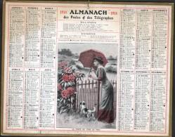 CALENDRIER GRAND FORMAT, 1914, ILLUSTRATION: La Porte Du Fond Du Parc, SCANS RECTO ET VERSO - Calendars