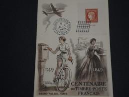 FRANCE - Carte 1 Er Jour Centenaire Du Timbre En 1949 - A Voir - L 1639 - FDC