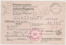 Correspondance Pour Prisonnier De Guerre, STALAG IX C + Mention Manuscrite X A. 1943 - Marcophilie (Lettres)