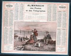 CALENDRIER GRAND FORMAT, 1920, ILLUSTRATION: LE CONTE DU GRAND PERE ( BATEAUX), SCANS RECTO ET VERSO - Calendars