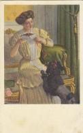 Lady W Poodle Dog Old Postcard Munk Wien # 527 - Chiens