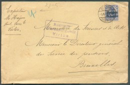25 Centimes S/20 Pfg. Obl. Dc VRTON Sur Lettre Du 5-6-16 + Censure Violette De VIRTON Vers Bruxelles - 11371 - Guerre 14-18