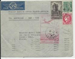 1939 - ENVELOPPE Par AVION De PARIS Par 1° VOL FRANCE-AMERIQUE Via MARSEILLE Et NEW YORK - Poste Aérienne