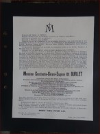 NIVELLES / BAULERS - Constantin De Burlet, Ancien Bourgmestre De Baulers - 1925 - Todesanzeige
