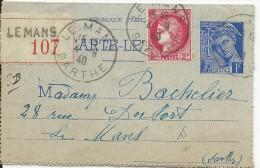 1940 - CARTE-LETTRE ENTIER TYPE MERCURE RECOMMANDEE De LE MANS (SARTHE) - COMPLEMENT CERES - Entiers Postaux