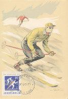 D25273 CARTE MAXIMUM CARD 1960 YUGOSLAVIA - SKIING OLYMPICS CP ORIGINAL - Skiing