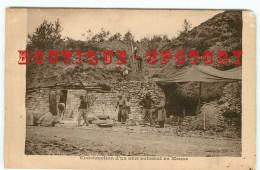 TRES RARE < CONSTRUCTION D'un ABRI En MEUSE - MACONNERIE  MACON - PUBLICITE Au DOS MAGASIN De GANTS LINGERIE à LIMOGES - Guerra 1914-18