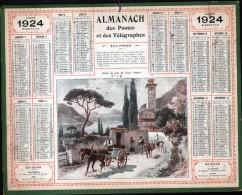 CALENDRIER GRAND FORMAT, 1924, ILLUSTRATION: BORDS DU LAC DE LECCO (ITALIE), SCANS RECTO ET VERSO - Calendars
