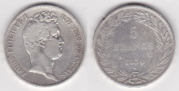 5 FRANCS LOUIS PHILIPPE 1er 1830 A Tr RELIEF En Argent (voir Scan) Cyr - France