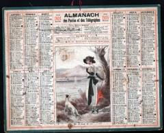 CALENDRIER GRAND FORMAT, 1924, ILLUSTRATION: SUR LES BORDS DU LAC , SCANS RECTO ET VERSO - Calendars