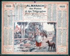 CALENDRIER GRAND FORMAT, 1925, ILLUSTRATION: PERRETTE ET LE POT AU LAIT, JEAN DE LA FONTAINE , SCANS RECTO ET VERSO - Calendars