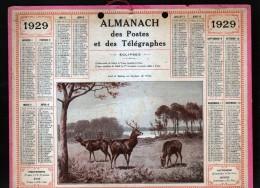 CALENDRIER GRAND FORMAT, 1929, ILLUSTRATION: CERF ET BICHES EN BORDURE DE FORET , SCANS RECTO ET VERSO - Calendars