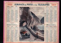 CALENDRIER GRAND FORMAT, 1930, ILLUSTRATION: GORGES DU VAR, AUTOMOBILE, SCANS RECTO ET VERSO - Calendars