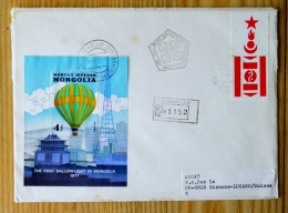 Cover From Mongolia 1982 Registered Ulanbator Fdc Hot Air Balloon The First Ballonflight 1977 M/s Sent To Switzerland - Mongolia