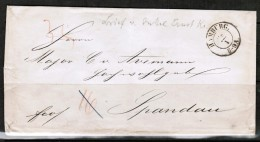 GERMANY  1800's STAMPLESS COVER HAMBURG To SPANDAU---WAX SEALS - Germany