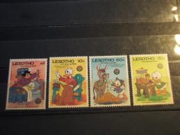 LESOTHO - 1986 PERSONAGGI DI W.D./PAPERINO E NIPOTINI 4 VALORI - NUOVI(++) - Lesotho (1966-...)