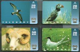 1994 Faroe Islands 4 X Telekort Telephone Cards Telefonverk Foroya Logtings Puffin, Ram - Faroe Islands